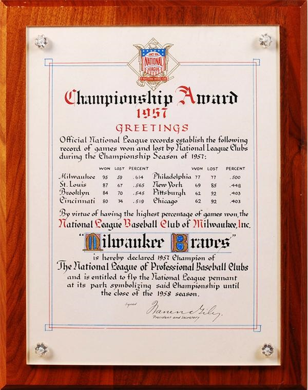 1957 Milwaukee Braves National League Certificate for Winning the Pennant