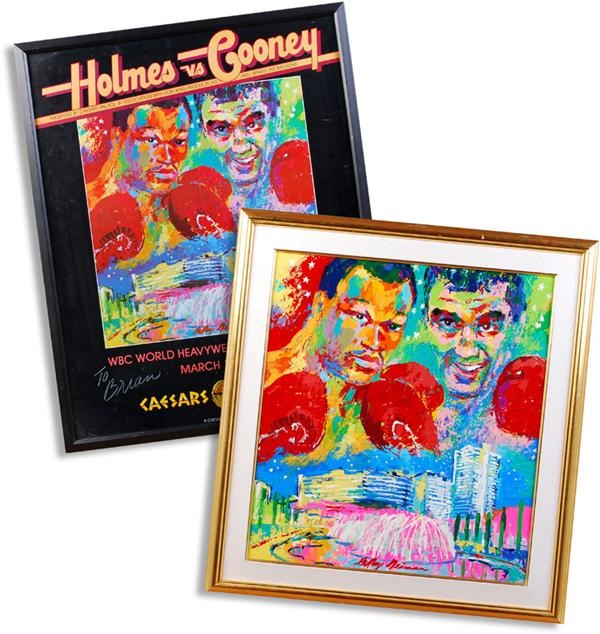 Original LeRoy Neiman Painting of Gerry Cooney vs. Larry Holmes Used For The Fight Poster