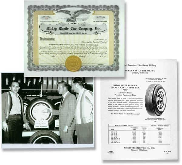 Unissued Stock Certificate for Mickey Mantle Tire, Inc.