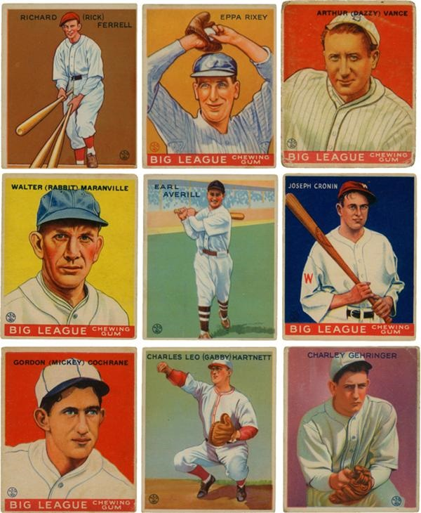 1933 Goudey Baseball Cards with Hall of Famers (192)