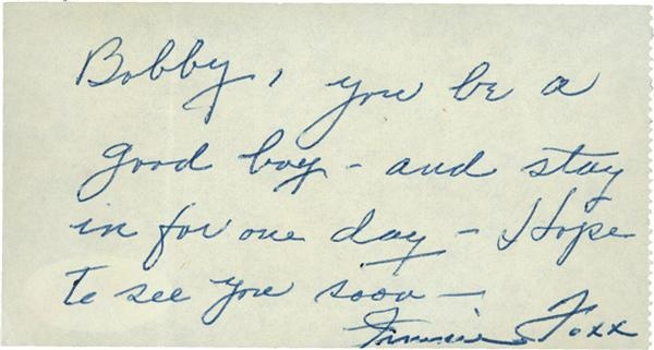 Jimmie Foxx Signed Handwritten Note