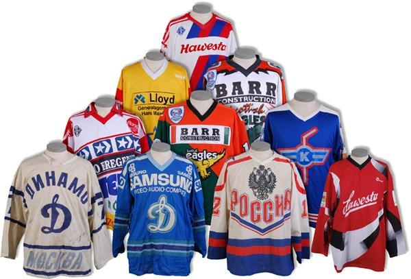 Collection of European / Russian Hockey Game Worn Jerseys (10)