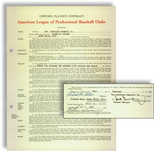 1954 Bob Feller Signed Cleveland Indians Player's Contract