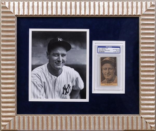 Lou Gehrig Signed Photo Display