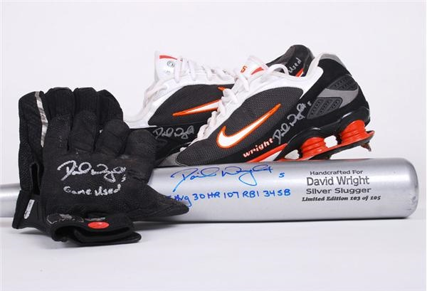 David Wright Game Used Cleats, Batting Gloves and Signed Limited Edition Bat (3)