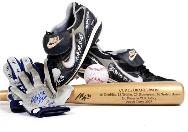 Curtis Granderson Game Used Cleats, Batting Gloves, Signed Bat and Baseball (4)