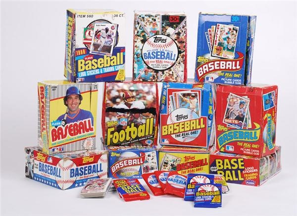 Collection of 1980's Topps and Fleer Unopened Wax Boxes (29)