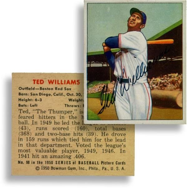 1950 Bowman Ted Williams Autographed Card
