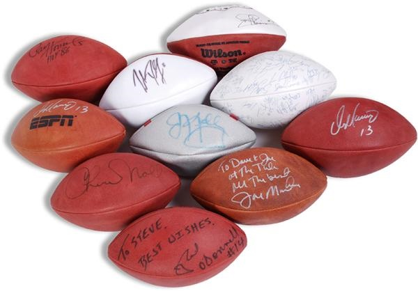 Collection of  Autographed Footballs with Paul Hornung and Joe Montana (10)