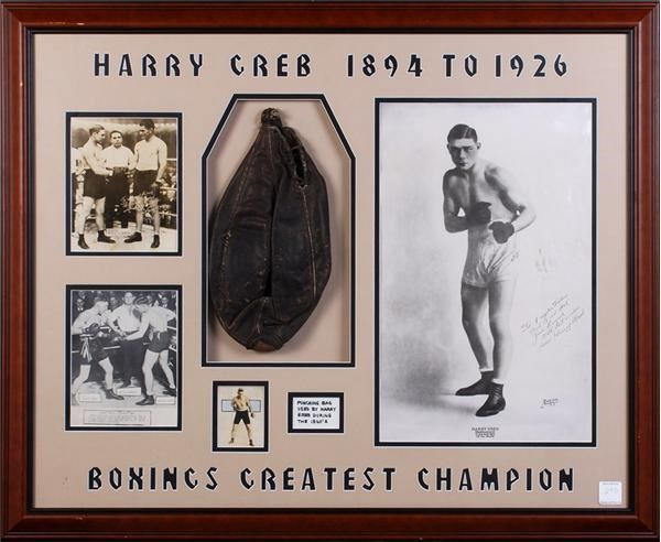 1920's Harry Greb Training Used Punching Bag Display