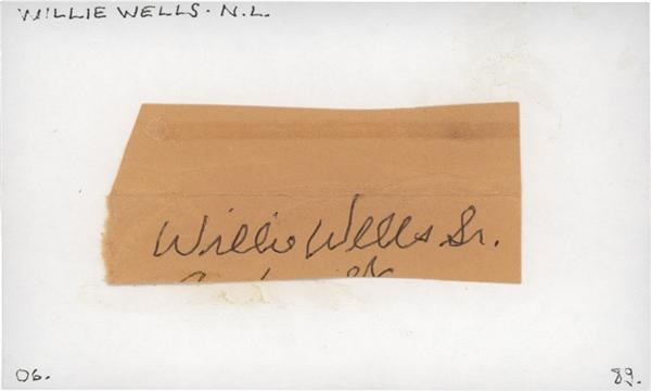 Negro Leaguer Willie Wells Signed 3 x 5 Index Card
