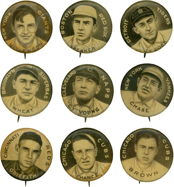 Collection of 1910-12 P-2 Sweet Caporal Baseball Pins (71)