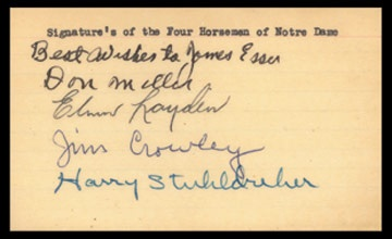 1920's Four Horsemen of the Apocalypse Signed Index Card