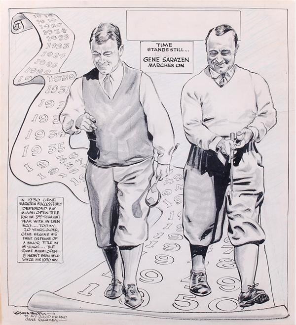 Original Artwork Presented to Gene Sarazen by Willard Mullin