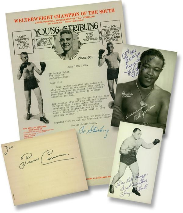 Primo Carnera, Tony Galento, Kid Gavilan and Young Stribling Autographs (4)