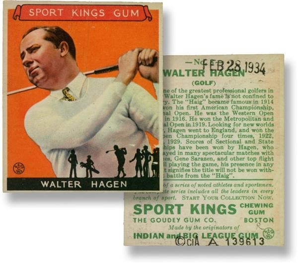 1934 Sport King Walter Hagen Golf Card (Library of Congress Example)