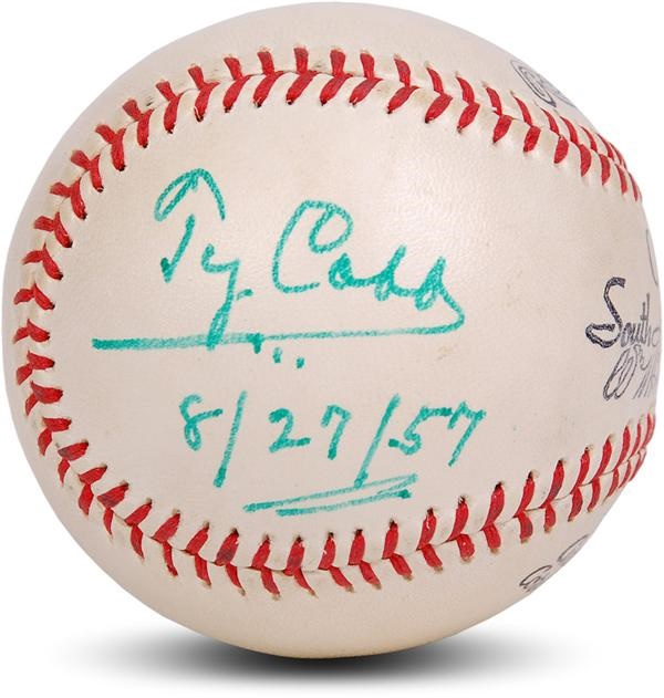 Mint Ty Cobb Single Signed Baseball from 1957