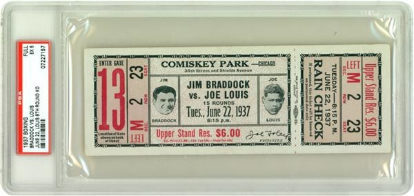 1937 Jim Braddock vs Joe Louis Boxing Full Ticket EX 5