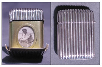 Turn of the Century Sterling Silver Photographic Baseball Match Safe