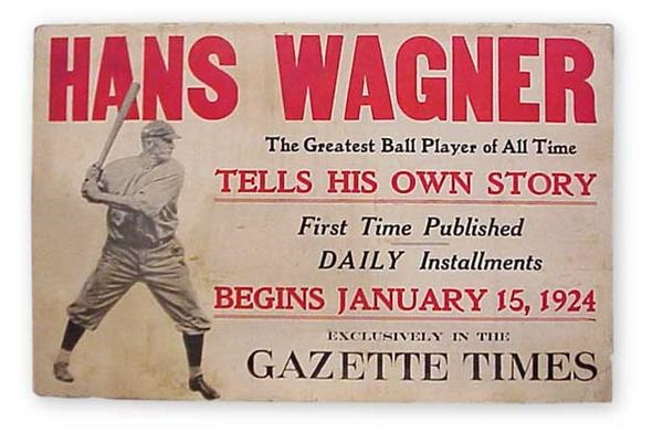 1924 Honus Wagner Cardboard Trolley Sign