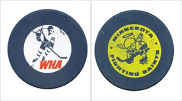 1972 WHA Minnesota Fighting Saints Blue Game Puck