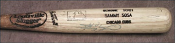 1999 Sammy Sosa Game Used & Signed Bat (34.5