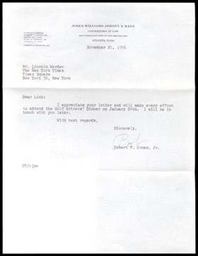 1956 Bobby Jones, Jr. Signed Letter