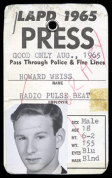 August 29-30, 1965 Press Credential
