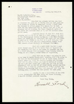 1943 Russell Ford Signed Letter