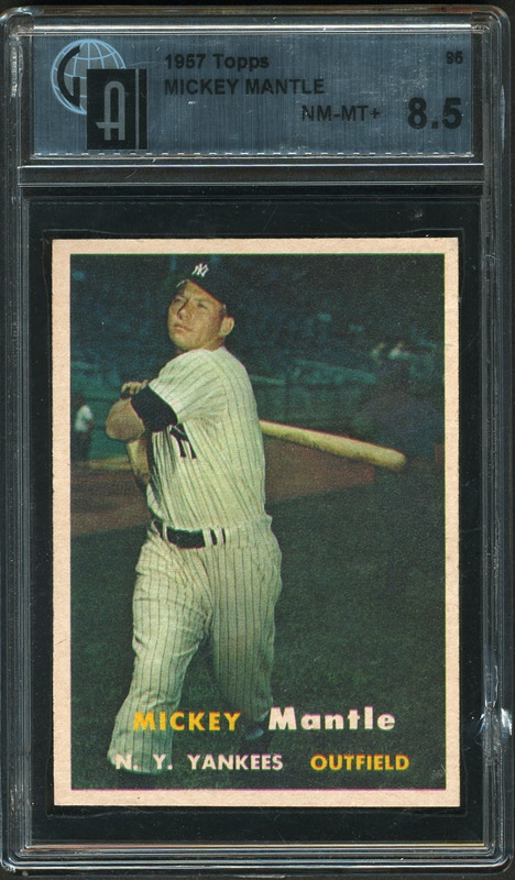 1957 Mickey Mantle Topps Baseball Card Graded 85