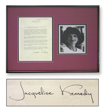 Jacqueline Kennedy White House Guidebook Page Signed as First Lady