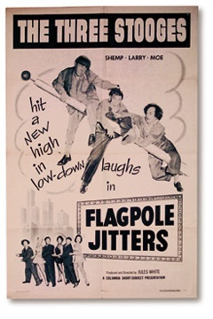 1956 Flagpole Sitters Three Stooges Film Poster Key Lobby Card