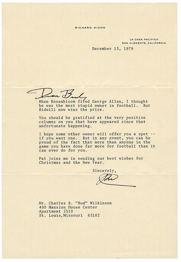 Signed Letter From Richard Nixon Calling Bidwill