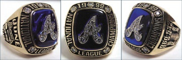 1999 Atlanta Braves National League Championship Ring