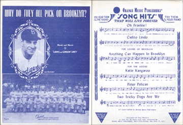1945 Why Do They Pick on Brooklyn Sheet Music
