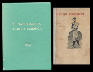 1908 History of Cuban Baseball Book with Christy Mathewson Cover