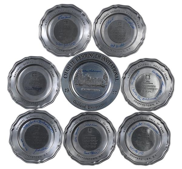 Autographed Hall of Fame Induction Pewter Plates (9)