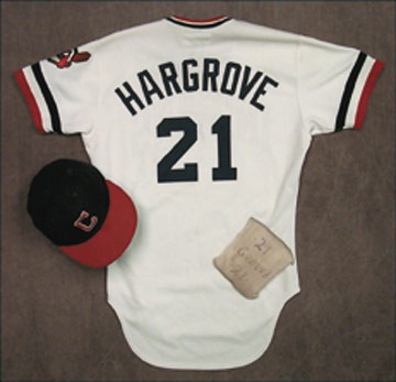 1982 Mike Hargrove Game Worn Jersey, Cap and Knee Pad