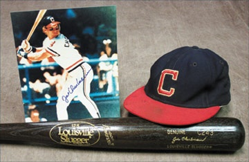 1980 Joe Charboneau Game Worn Cap, Bat (35