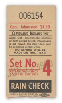 1960 Ted Williams 500th Home Run Ticket Stub