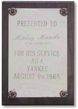 1968 Mickey Mantle Award Presented to Him on Mantle Day (3.75x5.5