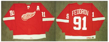 1995-96 Sergei Fedorov Detroit Red Wings Game Worn Jersey
