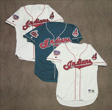 1996-97 Cleveland Indian Game Worn Jersey Collection (3)