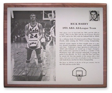 1971 Rick Barry A.B.A. All-League Team Award (13x15