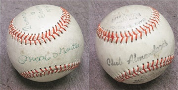 1957 Mickey Mantle Single Signed Baseball from Cuba