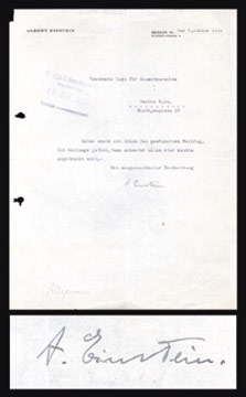 1929 Albert Einstein Signed Judaica Letter