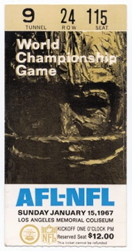 1967 Super Bowl I Ticket Stub
