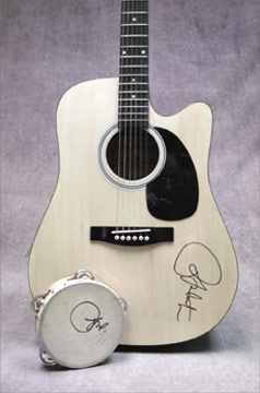 Ricky Martin Signed Guitar and Tambourine