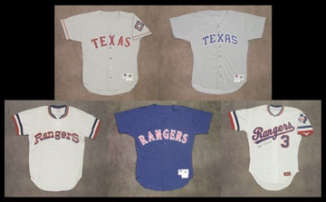 1980's-90's Texas Rangers Game Worn Jersey Collection (5)