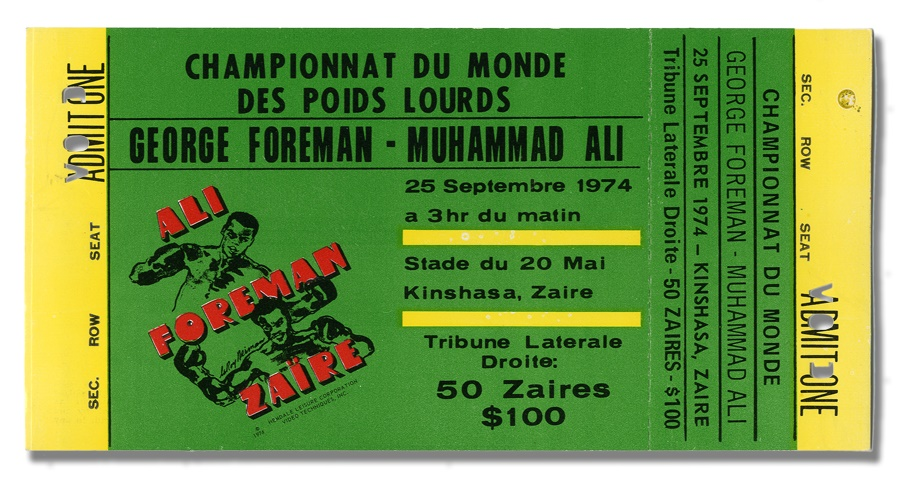 Ali vs. Foreman Zaire Unused Ticket